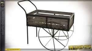 Chariot décoratif de style ancien et rétro en bois et métal 88 cm