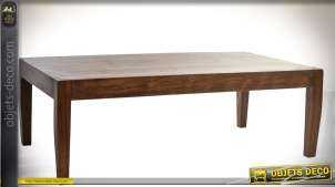 Table basse contemporaine en acacia bois teinté brun 120 x 65 cm