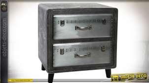 Table de chevet industrielle gris argenté et gris anthracite à deux tiroirs