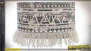 Abat-jour cylindrique motifs ikat coloris écru et noir Ø 35 cm