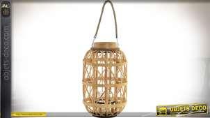 Lanterne bougeoir en osier naturel, bois et corde 38 cm