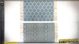 Série de deux tapis en coton de style oriental 90 x 60 cm coloris bleu et écru