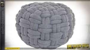 Pouf gris avec habillage tissu polyester effet tressage géant Ø 57 cm
