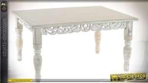 Table basse retangulaire style oriental en bois sculpté patine blanche
