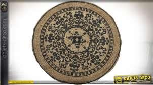 Tapis circulaire en jute tressé écru et noir à motifs mandala Ø 90 cm