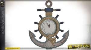 Horloge murale en bois et cordage ancre de marine 43 cm