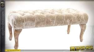 Banquette bout-de-lit capitonné tissu chic marron crème effet givré 100 cm