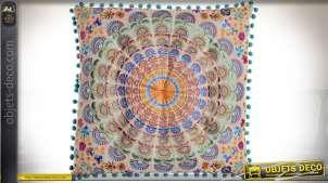 Coussin capitonné en coton style indien motif mandala multicolore 40 x 40 cm