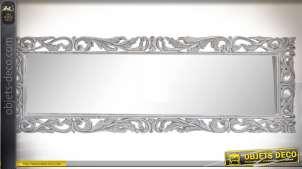 Miroir baroque en manguier sculpté patine blanche vieillie 152 x 51 cm