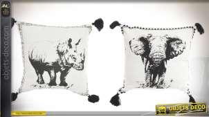 Duo de coussins en coton motifs en noir et blanc :  éléphant et rhinocéros 45 x 45 cm