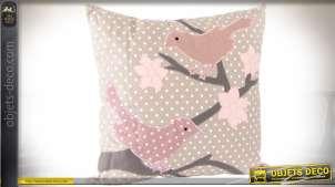 Coussin décoratif 45 x 45 tissu à pois et illustrations sur le thème des oiseaux