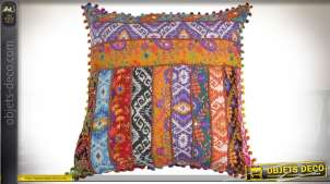 Coussin patchwork 40 x 40 cm style indien multicolore