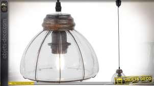 Suspension rétro en bois et verre effet poli givré avec grille de protection en métal Ø 20 cm