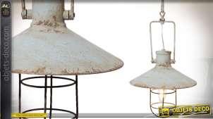 Suspension en métal de style rétro patine gris vieilli et oxydé 44 cm