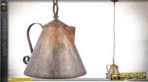 Suspension originale et rétro en forme d'ancienne cafetière cuivrée 26 cm