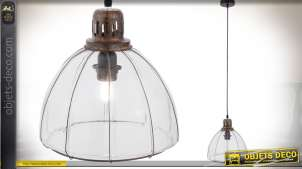 Suspension en verre et métal de style rétro forme dôme translucide Ø 27 cm