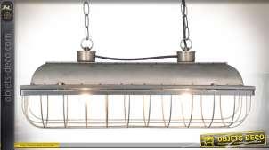 Grande suspension en métal gris argenté de style industriel avec grille 60 cm