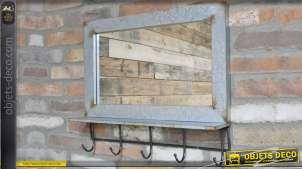 Miroir industriel en métal finition zinc avec tablette et 5 crochets 60 cm