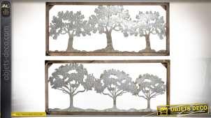 Duo de décorations murales en bois et métal : bosquets d'arbres 116 cm