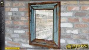 Miroir en bois recyclé style rustique brocante 64 x 49 cm