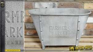 Grand bac jardinière en forme de baignoire en métal imitation zinc ancien 54 cm