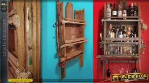 Grande étagère murale rustique en bois recyclé et cordage 142 cm