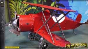 Grand avion décoratif biplan rouge en métal (2 mètres)