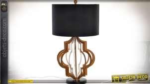 Lampe de table design pied en métal doré et abat-jour cylindrique noir