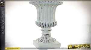 Vase Médicis blanc vieilli 66 cm en fibre de verre