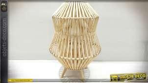 Grande lanterne bougeoir en bambou naturel de style exotique 59 cm
