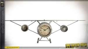 Horloge étagère avion ancien avec deux réacteurs métal gris vieilli 149 cm