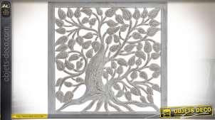 Fresque murale en bois sculpté arbre et feuillage blanc ancien 60 x 60 cm