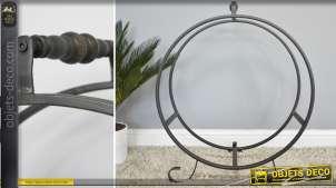 Rack à bûches circulaire en métal et fer forgé 72 cm