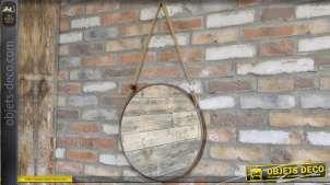 Miroir rond suspendu en métal de style industriel Ø 47 cm