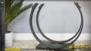 Rack à bûches en métal et fer forgé de style contemporain forme semi-circulaire