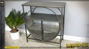 Console vitrine de style industriel et rétro en métal finition zinc ancien 80 cm