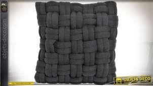 Coussin gris anthracite à tressage en mailles géantes 45 x 45 cm