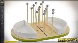 Plateau de service pour apéritif avec 15 piques thème sport et basketball 28 cm