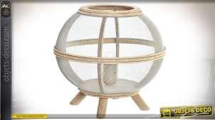 Lampe de table sphère en bois et grillage très fin blanc style scandinave Ø 25,5 cm