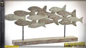 Sculpture banc de poissons sur socle en manguier veilli et métal 67 cm
