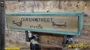 Étagère industrielle bois et métal avec tiroir et marquage UK 48 cm