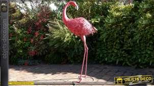 Flamant rose géant d'ornementation en métal et fer forgé 147 cm