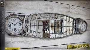 Miroir mural rétro et indus en forme d'ancienne calandre avec 2 horloges 145 cm