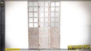 Paravent à 3 volets effet fenêtré en bois finition blanc à l'ancienne 180 cm