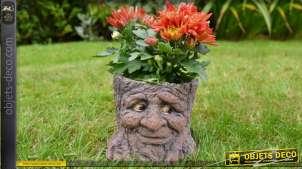 Pot de fleur jardinière en forme de souche d'abre personnage conte d'autrefois