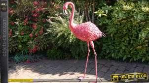 Flamant rose géant d'ornementation en métal et fer forgé 151 cm