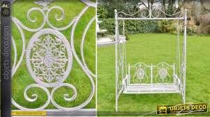 Balancelle de jardin en métal et fer forgé patine gris clair style rétro 230 cm