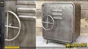 Table de chevet en métal gris argenté en forme de coffre-fort ancien 51 cm