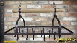 Etagère suspendue métal et bois style rustique patine brun foncé