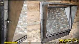 Miroir en métal gris argenté de style indus avec visière et crochets 70 cm